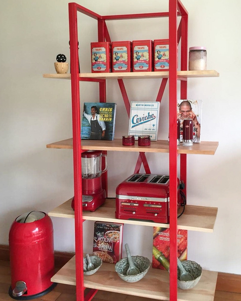 Rack repisa roja madera fierro industrial the woods creative cocina living2